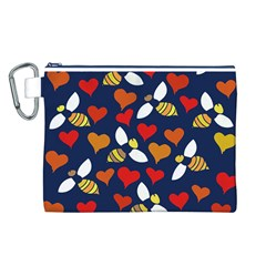Honey Bees In Love Canvas Cosmetic Bag (L)