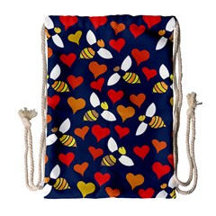 Honey Bees In Love Drawstring Bag (large)