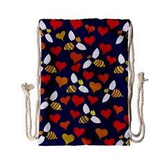 Honey Bees In Love Drawstring Bag (Small)