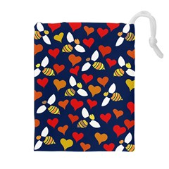 Honey Bees In Love Drawstring Pouches (Extra Large)