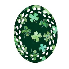 Lucky Shamrocks Oval Filigree Ornament (2 Side)