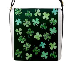 Lucky Shamrocks Flap Messenger Bag (L)