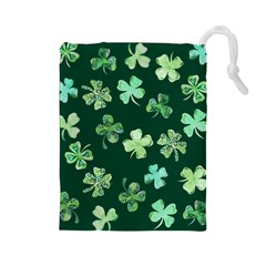 Lucky Shamrocks Drawstring Pouches (Large)