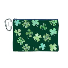 Lucky Shamrocks Canvas Cosmetic Bag (M)