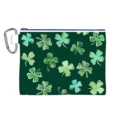Lucky Shamrocks Canvas Cosmetic Bag (L)