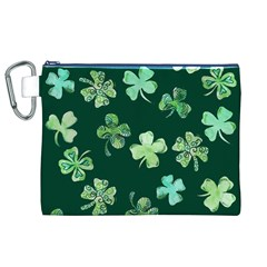 Lucky Shamrocks Canvas Cosmetic Bag (xl)