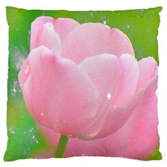 Pink Tulip Large Cushion Case (two Sided)