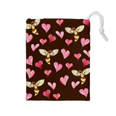 Honey Bee Love Bees Drawstring Pouches (Large)