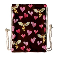 Honey Bee Love Bees Drawstring Bag (Large)