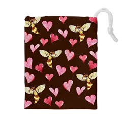 Honey Bee Love Bees Drawstring Pouches (Extra Large)