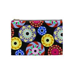Colorful Retro Circular Pattern Cosmetic Bag (Medium)