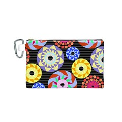 Colorful Retro Circular Pattern Canvas Cosmetic Bag (small)