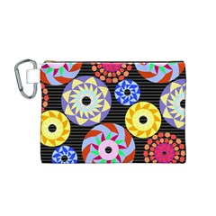 Colorful Retro Circular Pattern Canvas Cosmetic Bag (medium)