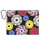 Colorful Retro Circular Pattern Canvas Cosmetic Bag (XL) Front