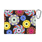 Colorful Retro Circular Pattern Canvas Cosmetic Bag (XL) Back