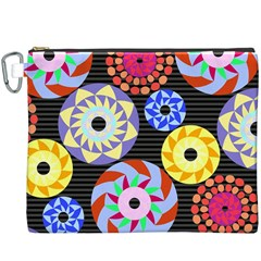 Colorful Retro Circular Pattern Canvas Cosmetic Bag (xxxl)