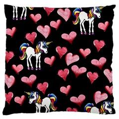Retro Unicorns Heart Large Cushion Case (two Sides)