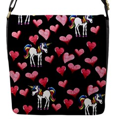 Retro Unicorns Heart Flap Messenger Bag (S)
