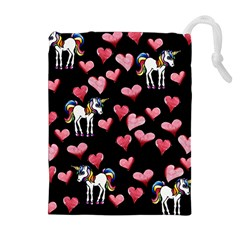 Retro Unicorns Heart Drawstring Pouches (extra Large)