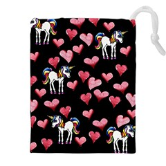 Retro Unicorns Heart Drawstring Pouches (XXL)