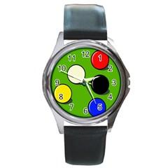 Billiard  Round Metal Watch