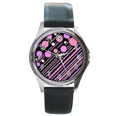 Purple transformation Round Metal Watch