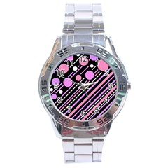 Purple transformation Stainless Steel Analogue Watch