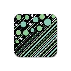 Green transformaton Rubber Square Coaster (4 pack)