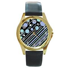 Blue transformation Round Gold Metal Watch