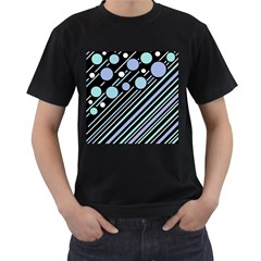 Blue transformation Men s T-Shirt (Black) (Two Sided)