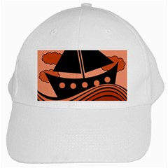 Boat - red White Cap