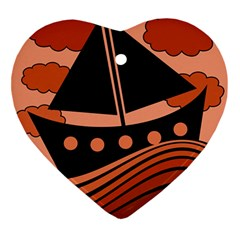 Boat - red Ornament (Heart)