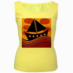 Boat - red Women s Yellow Tank Top