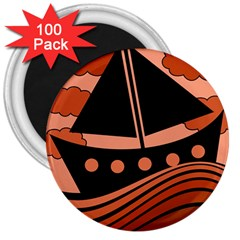 Boat - red 3  Magnets (100 pack)