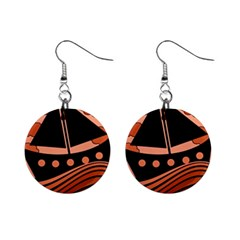 Boat - red Mini Button Earrings