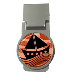 Boat - red Money Clips (Round)