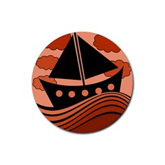 Boat - red Rubber Round Coaster (4 pack)