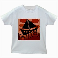 Boat - red Kids White T-Shirts