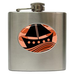 Boat - red Hip Flask (6 oz)