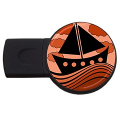 Boat - red USB Flash Drive Round (1 GB)