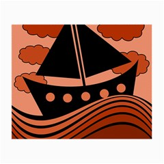 Boat - red Small Glasses Cloth