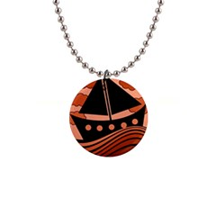 Boat - red Button Necklaces