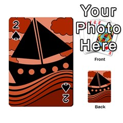 Boat - red Playing Cards 54 Designs