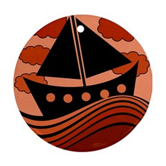 Boat - red Round Ornament (Two Sides)