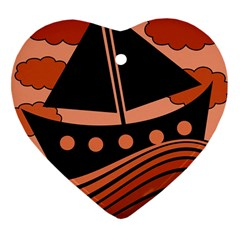 Boat - red Heart Ornament (2 Sides)