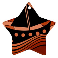 Boat - red Star Ornament (Two Sides)