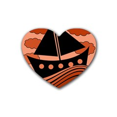Boat - red Heart Coaster (4 pack)