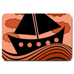 Boat - red Large Doormat