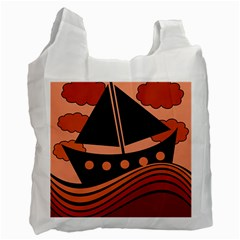 Boat - red Recycle Bag (One Side)