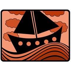 Boat - red Fleece Blanket (Large)